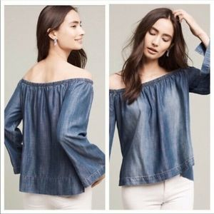 Cloth & Stone Blue Chambray Off the Shoulder Top